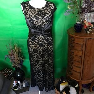 Rory black lace dress with goldtone underlay  3XL